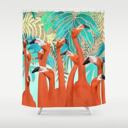 Flamingo Party Shower Curtain