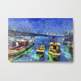 Boats and Sea Impressionist Art Metal Print