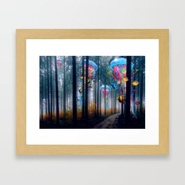 Forest of Super Electric Jellyfish Worlds Framed Art Print