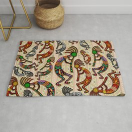 Kokopelli Rainbow Colors on Tribal Pattern  Rug