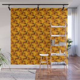 Intersecting bright gold rhombs and black triangles with volume. Wall Mural