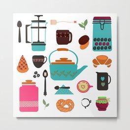 a few attributes for tea or coffee break Metal Print
