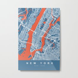 New York Map | Blue | More Colors, Review My Collections Metal Print
