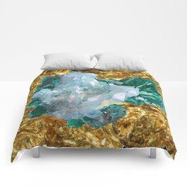WHITE QUARTZ &  AQUAMARINE CRYSTALS  ON GOLD Comforters