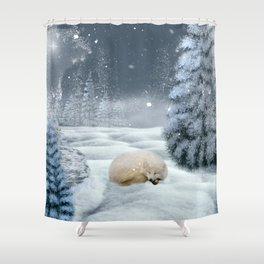Sleeping polar fox Shower Curtain