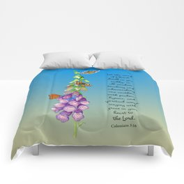 Colossians 3:16 Let the Word of Christ Dwell in you Richly Foxgloves Butterflies Watercolor Comforters