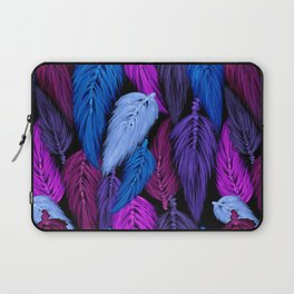 Watercolor Macrame Feather Toss in Black + Indigo Laptop Sleeve