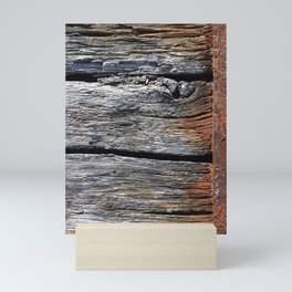 Natural pattern Iphone Case -- Old weathered harbour wood -- Wood texture -- Mini Art Print