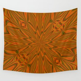 Autumnal Leaves Red Green and Amber Abstract Kaleidoscope Wall Tapestry
