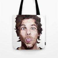 louis tomlinson Tote Bags featuring Louis Tomlinson - One Direction by jrrrdan