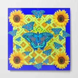 Blue Moths Sunflowers Lime Green Spring Art Metal Print
