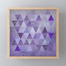 Glamorous Purple Faux Glitter And Foil Triangles Framed Mini Art Print