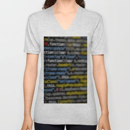 Closeup of binary coding on a screen Unisex V-Neck