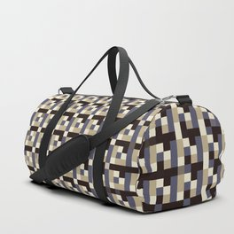 leigh - tan beige black ivory indigo geometric mosaic pattern Duffle Bag