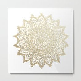BOHO NIGHTS GOLD MANDALA Metal Print