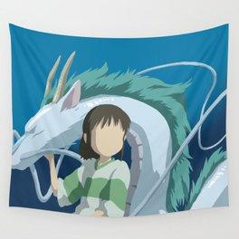 Minimalistic Spirited Away Chihiro and Haku Wall Tapestry
