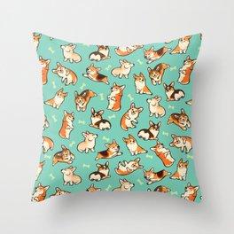 Jolly corgis in green Throw Pillow