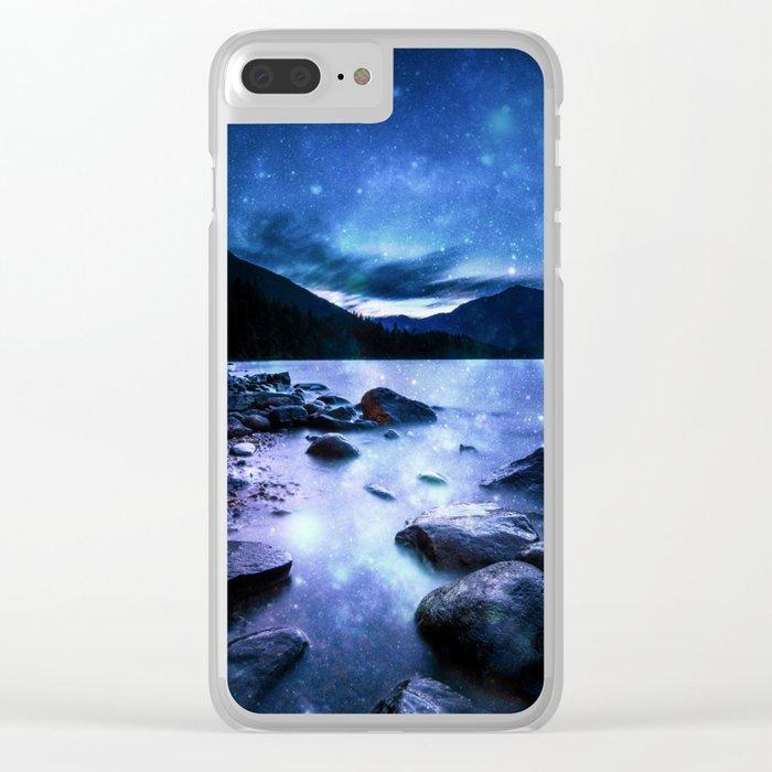 Magical Mountain Lake Blue Clear iPhone Case