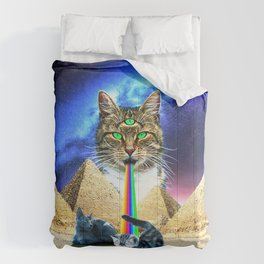 Trippy Three-Eyed Cat - Mystical Egypt Comforters