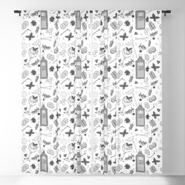 Gin Cocktails Black and White Cocktail Bar Pattern Blackout Curtain