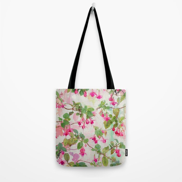 Rainbow Fuchsia Floral Pattern Tote Bag