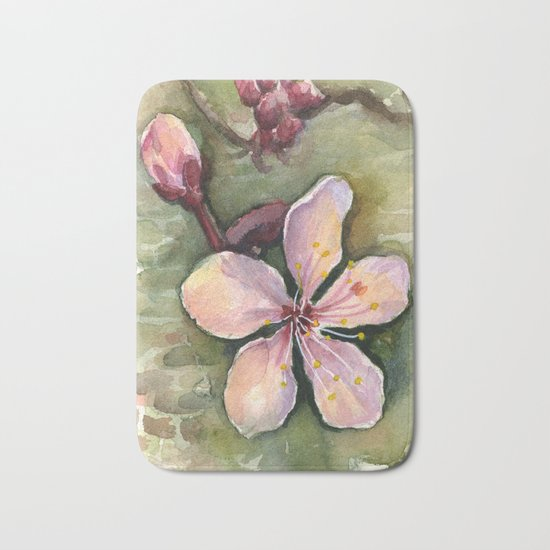Cherry Blossom Watercolor Painting | Spring Flowers Bath Mat