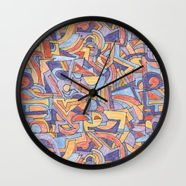 Party in Orange and Blue Wall Clock