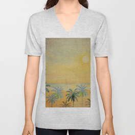 Dreamy Sunset - Tropical Watercolor with Palm Trees in Yellow and Orange Unisex V-Neck