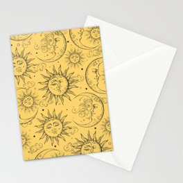 Yellow Magic Celestial Sun Moon Stars Stationery Cards
