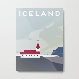 Iceland Vik Church Travel Poster Metal Print