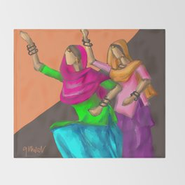 Punjabi girls Giddah Throw Blanket