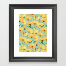 Painted Golden Yellow Daisies on soft sage green Framed Art Print
