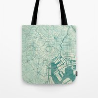 vintage map Tote Bags featuring Tokyo Map Blue Vintage by City Art Posters