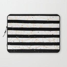 Vintage Black and White Stripes Gold Geometric Pattern Laptop Sleeve