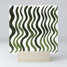 Wavy lines - sap green Mini Art Print