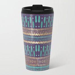 Gold Teal and Purple Arrows Tribal Aztec Pattern Travel Mug