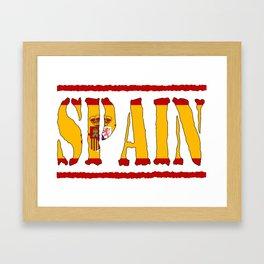 Spain Font with Spanish Flag Framed Art Print