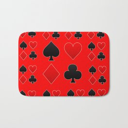RED & BLACK PLAYING CARD ART ON RED Bath Mat