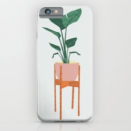 Boho mid century modern house plant and pot stand iPhone Case