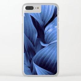 Blue Foliage Clear iPhone Case