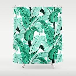 jungle leaf pattern mint Shower Curtain