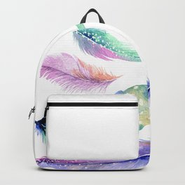 Watercolor Feather Backpack