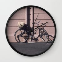 1984 Wall Clocks featuring PARIS BIKE 1984 by Bruce Stanfield