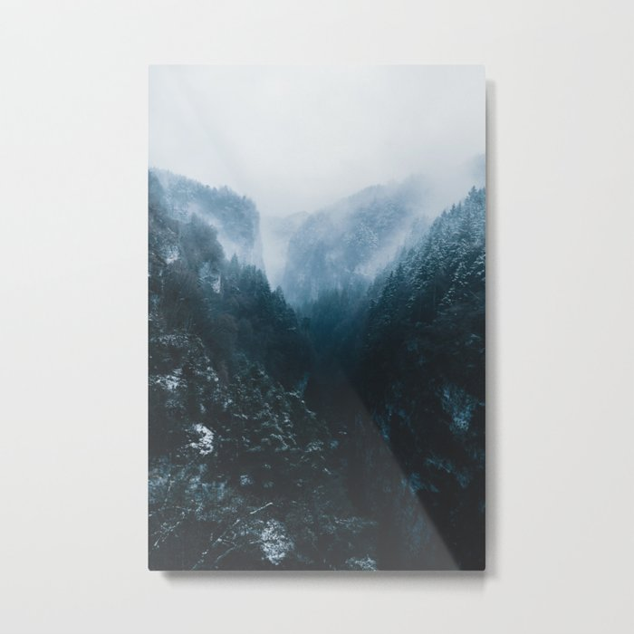 Foggy Forest Mountain Valley - Landscape Photography Metal Print