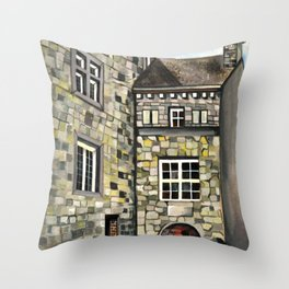 Fantastical Picturesque Hand-Painted Castle in Liege Belgium Throw Pillow