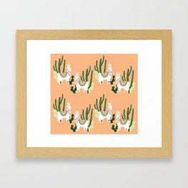 Cute Llama Pattern Framed Art Print