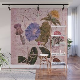 Botanical Study #4, Vintage Botanical Illustration Collage Art Wall Mural