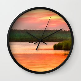 Summer sunset on Wild lake Wall Clock