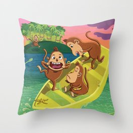 Monkeys on a Boat Throw Pillow