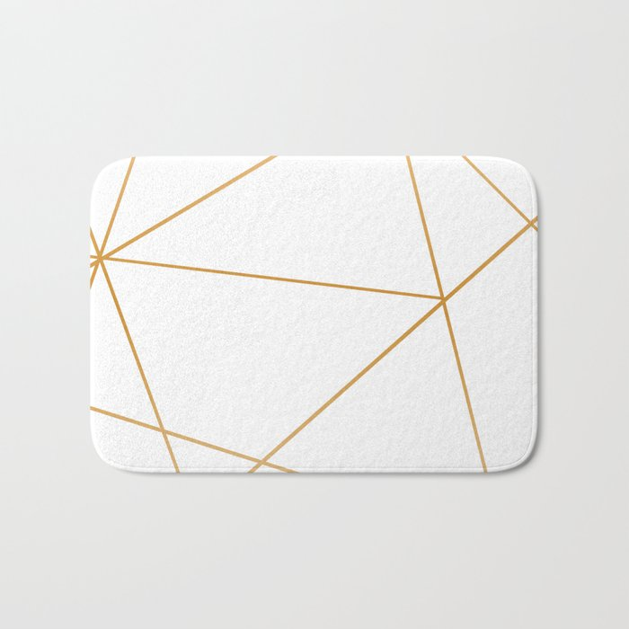 geometric gold and white Badematte